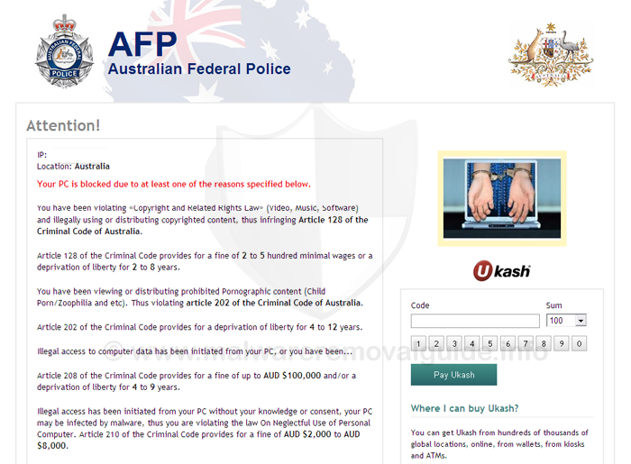 Australian Federal Police (AFP) virus - Removal Guide